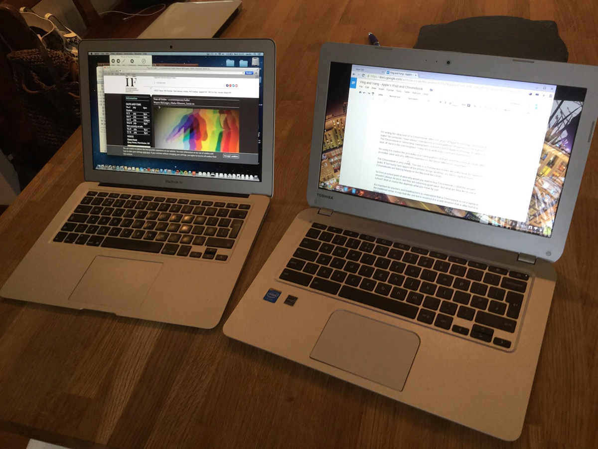 13 inch Macbook Air and 13 inch Toshiba Chromebook - Visually similar, structurally and pedagogically very different.